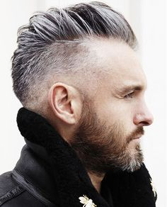 Short Grey Hairstyle with Shaved Sides