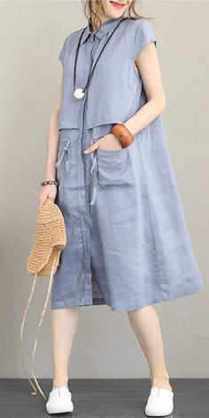 Elegant Blue linen Dresses Women Casual Clothes Q1173