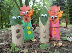 leaf creatures - paper towel rolls
