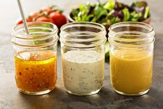 3 recipes for low-calorie salad dressings - Soßen - Salat Rezepte Vinaigrette Dressing, Salad Dressing Recipes, Ranch Dressing, Salad Recipes, Types Of Salad Dressing, Low Carb Dressing, Syrup Recipes, Avocado Dressing, Tea Recipes