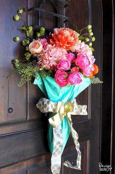 easy diy spring door decor, crafts, doors, flowers, how to, repurposing upcycling, wreaths