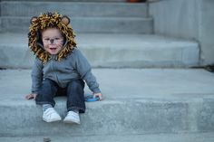 DIY toddler or baby lion halloween costume out of a sweatshirt/hoodie