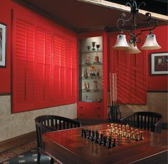 zerpra Graber Shutters - Red plantation shutters - Need a custom red shutter for your f. Interior Shutters, Window Treatments, Basement Remodel Cost, Family Room Windows, Interior Designer Cost, Red Shutters, Custom Windows, Custom Window Treatments, Interior Remodel