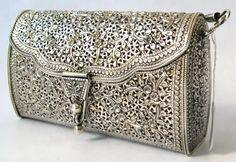 Auth 925 Sterling Silver Filigree Floral Handbag Purse   eBay