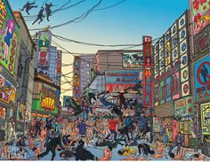 Geof Darrow's illustration for Wolverine #300 Cover with Ninjas and Yakuza