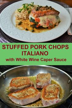 Stuffed Pork Chops Italiano with Caper White Wine Sauce is a terrific dinner that will make you want to lick your chops! #porkchoprecipe #dinner #stuffedporkchops Lamb Recipes, Pork Chop Recipes, Meat Recipes, Cooking Recipes, Recipe For Boneless Pork, Boneless Pork Chops, Pork Bacon, Grilled Pork, Pork Curry