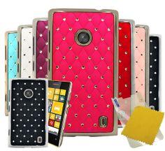 For Nokia Lumia 520 Diamond Hard Skins Phone Case Cover + Screen Protector