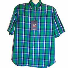 Paul & Shark Yachting AUTHENTIC Plaid Green Blue Men's Cotton Polo Shirt Size L #PaulSharkYachting #PoloRugby