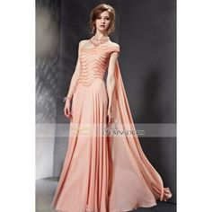 2015 Summer Orange One Shoulder Ruched Sequined Side Draped Long Dress... ❤ liked on Polyvore featuring dresses, orange dress, ruched cocktail dress, long summer dresses, long dresses and summer dresses