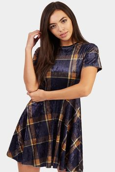 Multi Check Velvet Skater Dress