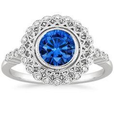 18K White Gold Sapphire Alvadora Diamond Ring, top view