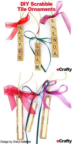 Do the kids names on these with a popsicle stick on the back - Diy Christmas Gifts Scrabble Letter Crafts, Scrabble Ornaments, Diy Christmas Ornaments, Christmas Projects, Kids Christmas, Diy Crafts For Kids, Holiday Crafts, Christmas Decorations, Crafts With Scrabble Tiles