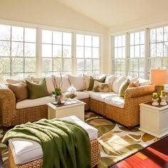 Stunning summer Seagrass Sectional (and sunroom!) inspiration. Who knew a green and white color palette could look so good?