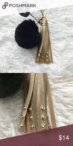 Gold Stud Faux Leather Tassel Attachment Pretty faux leather tassel attachment, gold colored and studded. Gold tone accent and black furry ball. Great fashion statement to add to any purse! Accessories