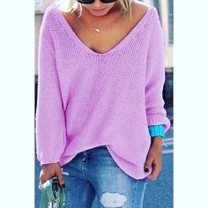 "Lilac Loose Fit V Neck Sweater V Neck Loose Fitting Women's Sweater Purple Pullover.....Medium Knit....In Package Polyester and Acrylic Large Chest 42 1/2""  Length 26""   Sleeve Length 24"" Sweaters V-Necks"