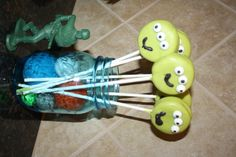 Toy Story 3 Alien Oreo Cookie Pops Cookies on a Stick Dessert in Blue Mason Jars with Felt Balls