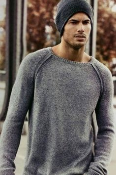 Gray sweater with beanie. Excellent style for a casual Friday.