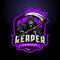 Logo Gaming, Skull Game, Dark Green Background, Game Logo Design, Esports Logo, Skull Illustration, Mascot Design, Blue Back, Grim Reaper