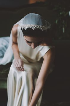 Art Deco gown inspiration for wedding with juliet cap veil / dress by rebecca schoneveld / image by chellise michael