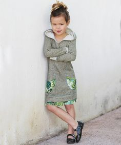 Olive Floral Pocket Hoodie Dress - Toddler & Girls by Freckles + Kitty #zulily #zulilyfinds