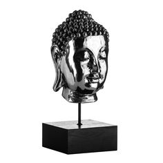 Buddha Head, Silver, On Stand