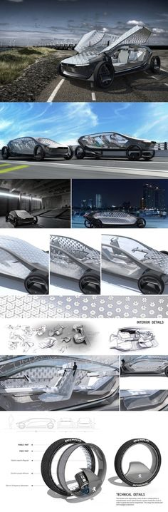 The futuristic UVA Concept Car was designed for the Michelin Design Challenge, bringing the words driving and gliding a bit closer. The car runs on magnetic levitation suspension that can be triggered on an empty stretch of road to give the sensation of being in the air. #Technology #YankoDesign #Automotive #Concept #Car