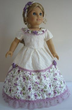 Cream & Lavender Colonial Gown + Shoes for American Girl Doll Clothes BEAUTIFUL