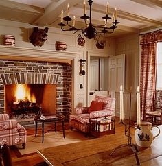 New Federal House - Cooperstown, NY - Fairfax & Sammons Architects - Classical & Traditional Architects NYC New England Homes, New Homes, Early American Homes, Stone Fireplace Designs, American Interior, Into The Fire, Cottage Interiors, Living Room Inspiration, Cozy House
