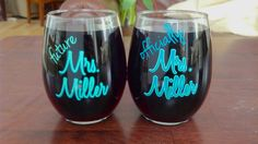 Bridal wine glass.  Bridal shower gift idea.  Stemless wine glasses with Future Mrs. and Official Mrs..  Teal and mint or you pick colors on Etsy, $12.00
