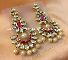 Indian Traditional Jaipur Style Kundan Meena Chandbali Earrings With Pearls And Colored Stones For Weddings Parties Jewelry Design Earrings, Gold Earrings Designs, Gold Jewellery Design, Gold Jewelry, Ruby Jewelry, Jewellery Uk, Diamond Jewellery, Jewlery, Gold Necklace