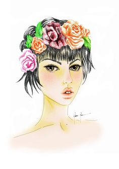 Art by Rubiana Reolon #girl #pastelseco #watercolor #flowers #illustration #art
