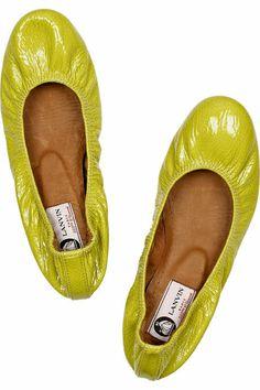 Lanvin Patent Ballerina Flats in acid yellow