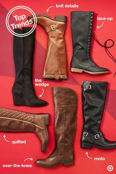 There's no better way to kick off winter than with a new pair (or two) of tall boots. Lace-up, quilted, wedge, knit, moto or over-the-knee—wear them with skinny jeans for a casual day, with an A-line mini for a weekend night out, or with a knee-length skirt for the office. Priced right so you don't have to choose just one.
