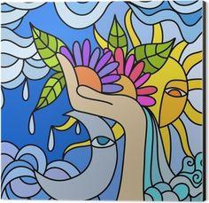 sole e luna Aluminium Print (Dibond) Moon Drawing, Painting & Drawing, 60s Art, School Murals, Canvas Art, Canvas Prints, Abstract Nature, Hippie Art, Face Art