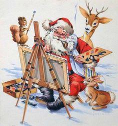 #1259 50s James Wilcox Santa & Reindeer-Vintage Christmas Card-Greeting