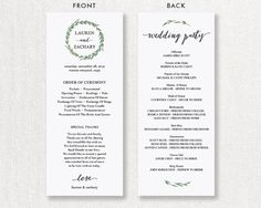 Wedding Program Printable Rustic Wedding by SmittenPaperProps