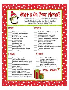Christmas Phone Game DIY Christmas Games What's In Your | Etsy
