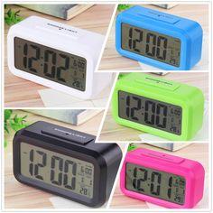 2016 LED Jam Alarm, Suhu Despertador Suara Kontrol LED Display Elektronik Desktop Jam Meja Digital