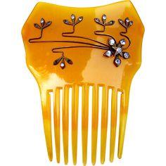 Amber celluloid rhinestone hair comb Spanish mantilla style hair accessory