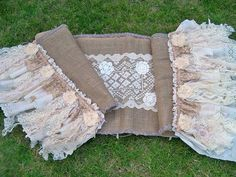 Burlap long table runner farmhouse shabby chic up cycled materials style Anita Spero