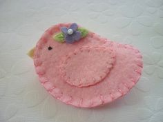 Wool Felt Brooch- Bird with Beaded Flower