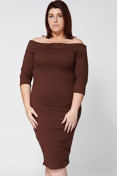 Ribbed Off The Shoulder Dress in Brown