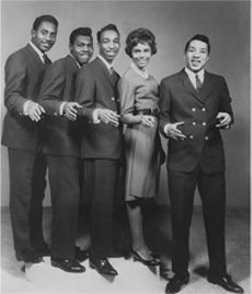 """1960~ The Miracles featuring Smokey Robinson, Bobby Rogers, Ron White, Pete Moore and Claudette Robinson record first Motown record to sell one million copies, """"Shop Around""""."""