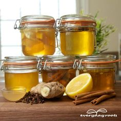 5 Healing Honey Infusions- put a spoonful in your tea to soothe a sore throat, toothache, cough, lower cholesterol and so much more.