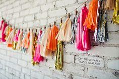 DIY Tissue Paper Garland  :  wedding decor diy houston TasselG TasselG