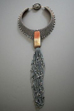 beaded statement necklace with pearls and jasper stone