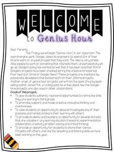Genius Hour Starter Pack: Daily Work Reflection Chart---Date, How I Spent My Time Today, My Plan for Next Genius Hour, Self Reflection (Habits of Mind??)