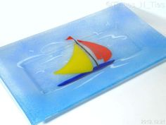 Fused Art Glass Nautical Sailboat Large Rectangle Platter Tray - Peggy Karr? (FF