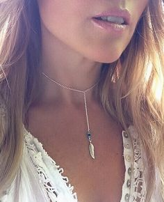 Feather Y Necklace  Silver Feather Charm by SusyDeMarchiJewelry