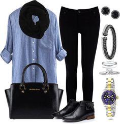 Andrea Moda y Asesoría: BLusa Chambray Pantalón negro FW15-16